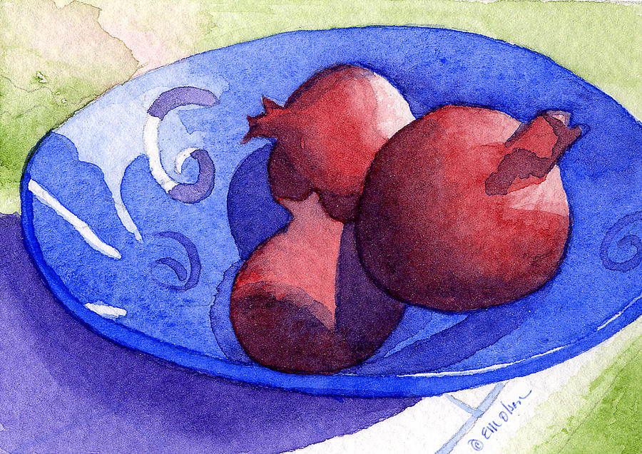 Blue Painting - Three Poms In Blue Bowl by Eunice Olson