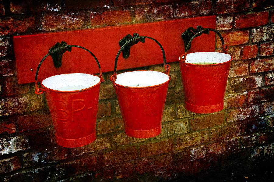 Red Photograph - Three Red Buckets by Svetlana Sewell