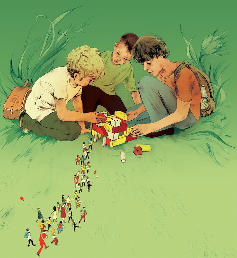 Child Digital Art - Three School Children Playing by Maya Shleifer