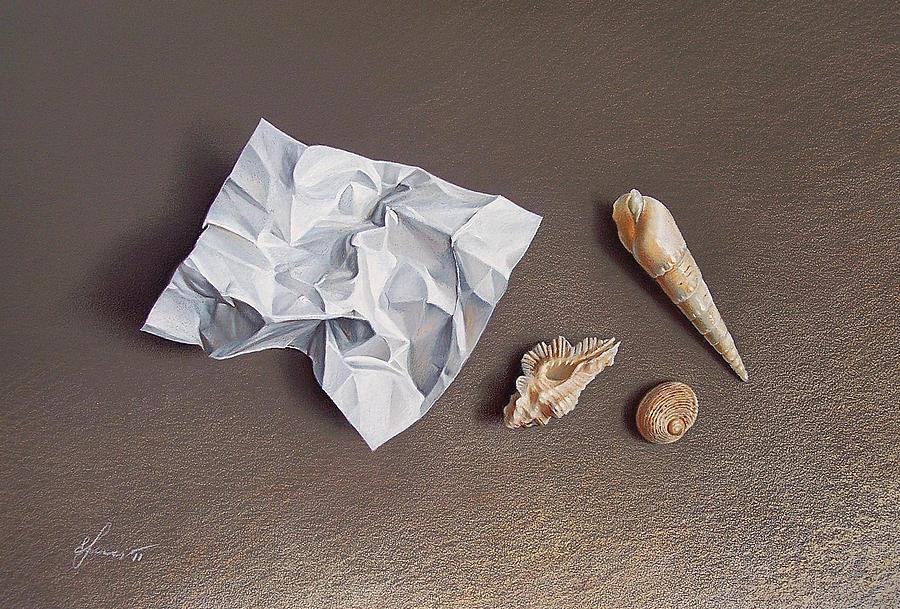 Shells Drawing - Three Shells For Collection by Elena Kolotusha