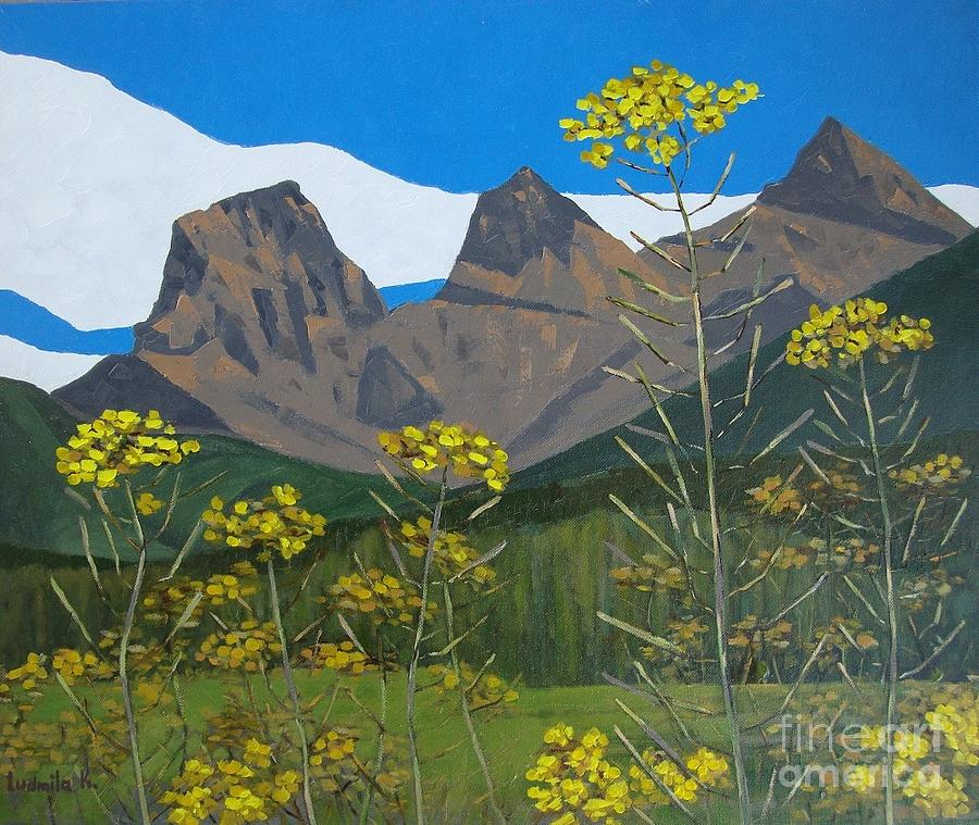 Mountains Painting - Three Sisters. by Ludmila Kalinina