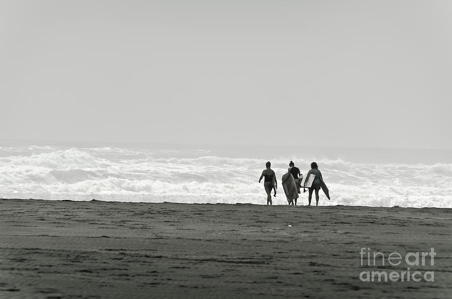 Ocean Photograph - Three Swimmers With Surfing Boards by Yurix Sardinelly