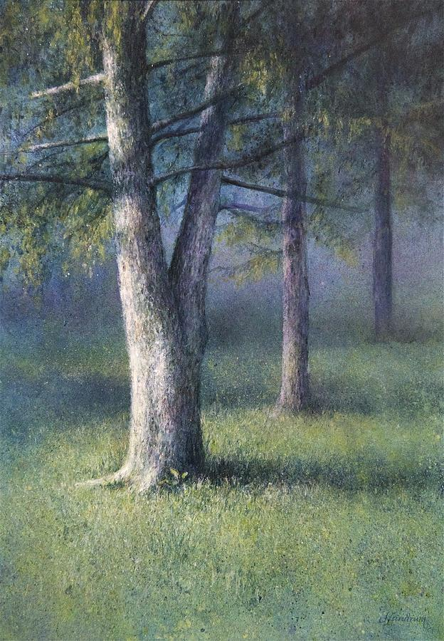 Tree Painting - Three Trees by Janet Landrum