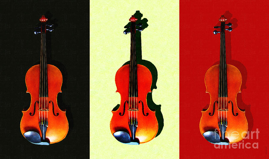 Music Photograph - Three Violins . Painterly by Wingsdomain Art and Photography