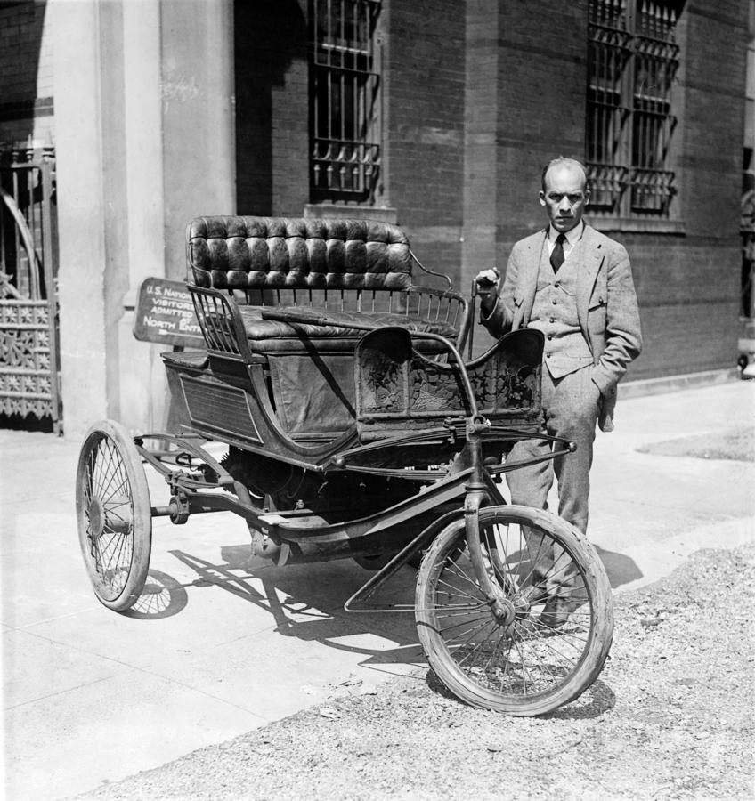 1924 Photograph - Three-wheel Automobile by Granger