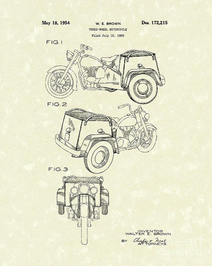 Three Drawing - Three Wheel Motorcycle 1954 Patent Art  by Prior Art Design
