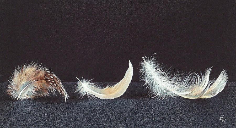Feather Drawing - Three Wishes by Elena Kolotusha