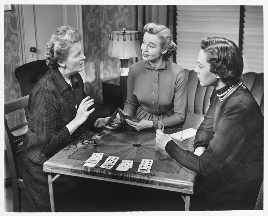 Adult Photograph - Three Women Playing Cards At Home, (b&w) by George Marks