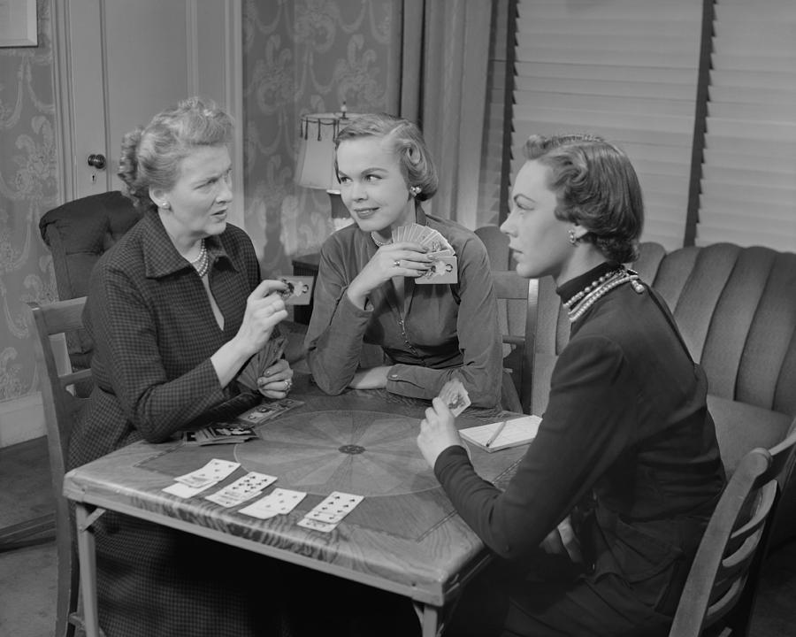Adult Photograph - Three Women Playing Cards In Living Room by George Marks
