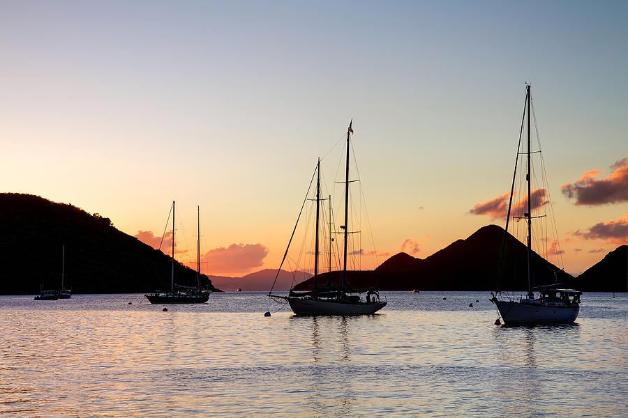 Silhouette Photograph - Three Yachts Silhouette by Anya Brewley schultheiss