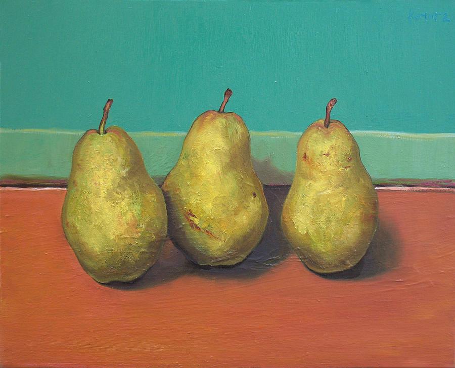 Three Yellow Pears With Green Wall Painting by Yuki Komura