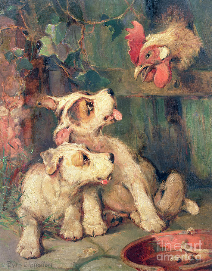 Dogs Painting - Threes A Crowd by Philip Eustace Stretton