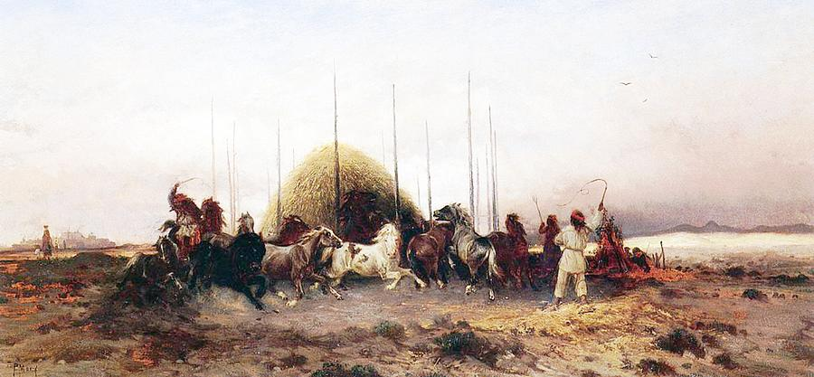 Thomas Moran Painting - Threshing Wheat In New Mexico by Thomas Moran