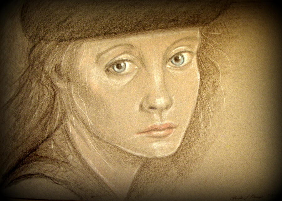 Portrait Drawing - Through The Eyes Of Youth by Linda Nielsen