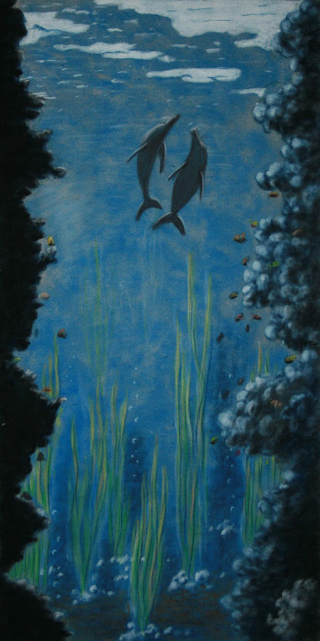 Dolphins Painting - Through The Trench by Charles Hubbard