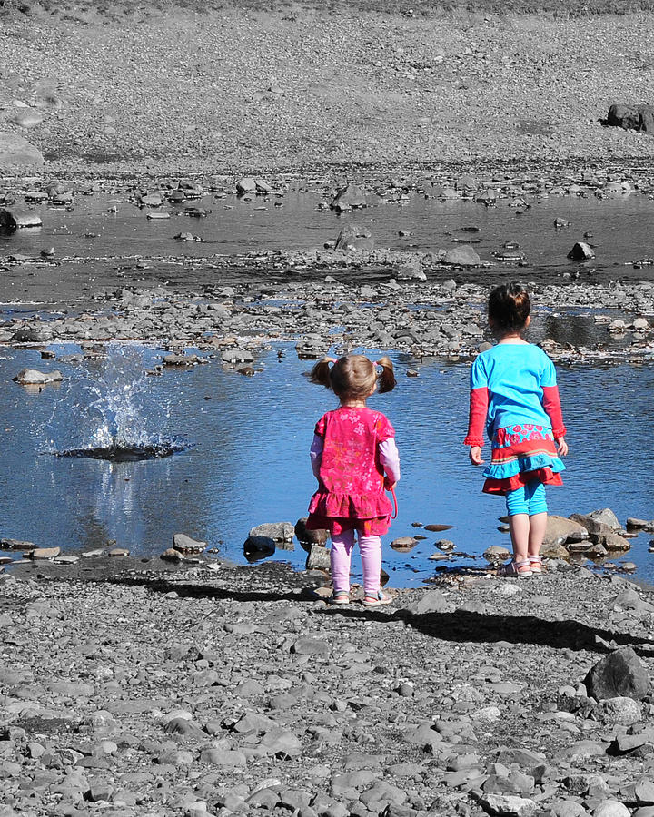 Children Photograph - Throwing Stones by Paul Ward