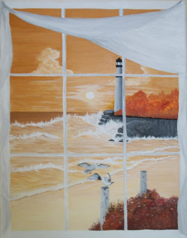 Lighthouse Painting - Thru The Window by Linda Bennett