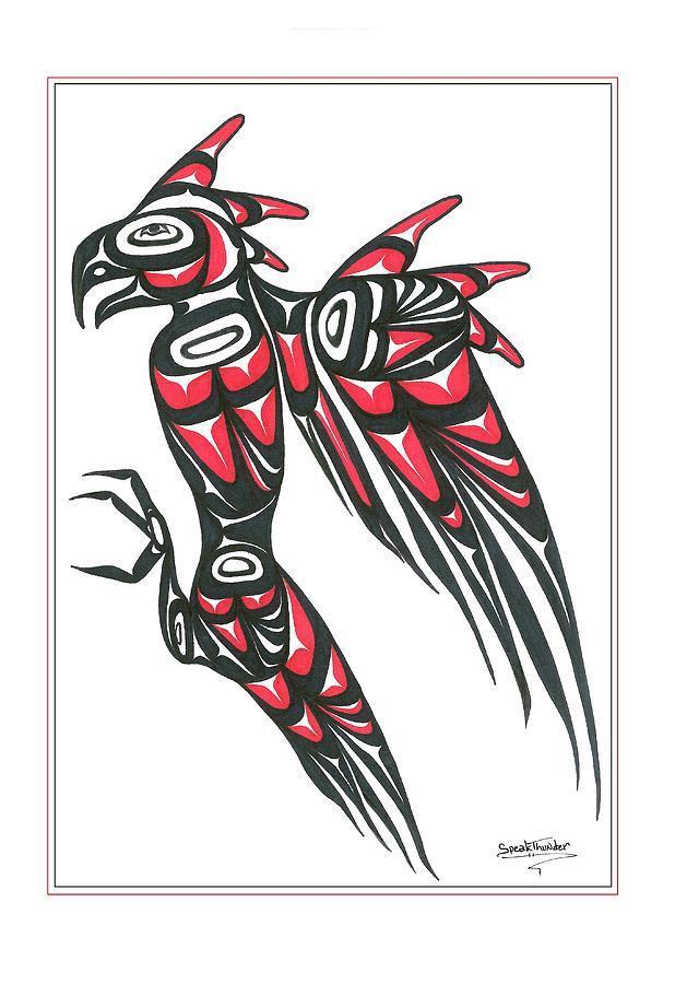 Thunder Drawing - Thunder Bird Red And Black by Speakthunder Berry