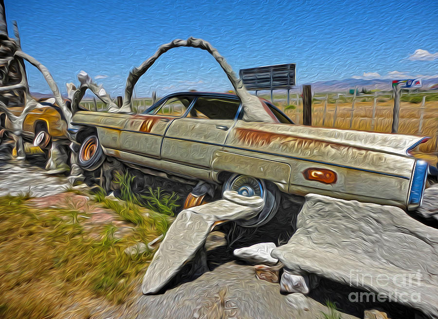 Thunder Mountain Indian Monument Photograph - Thunder Mountain Indian Monument - Car Wrecks by Gregory Dyer