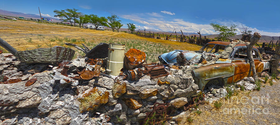 Roadside America Photograph - Thunder Mountain Indian Monument - Great Wall by Gregory Dyer