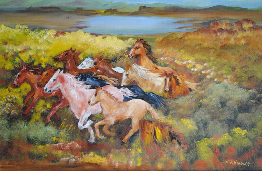 Horses Painting - Thundering Hooves by James Higgins