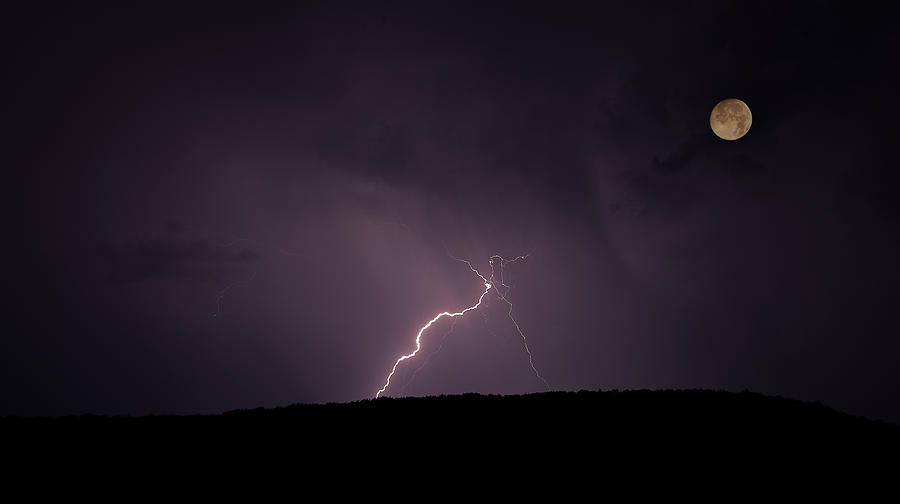 Horizontal Photograph - Thunderstorm, Thunderbolt, Lightning, Flash Moon by Rainer Pfingst