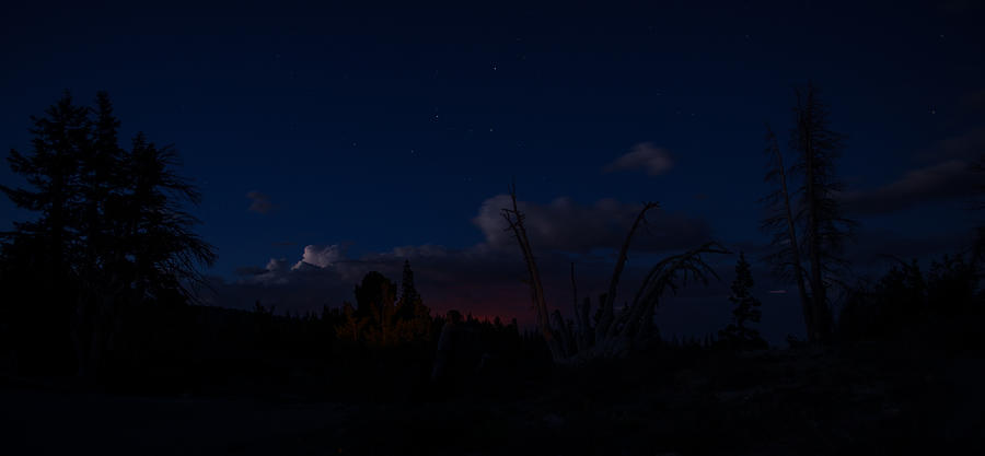 Lightning Photograph - Thunderstorm With Wildfire Glowing From Minarets Vista Mammoth Lakes California by Scott McGuire