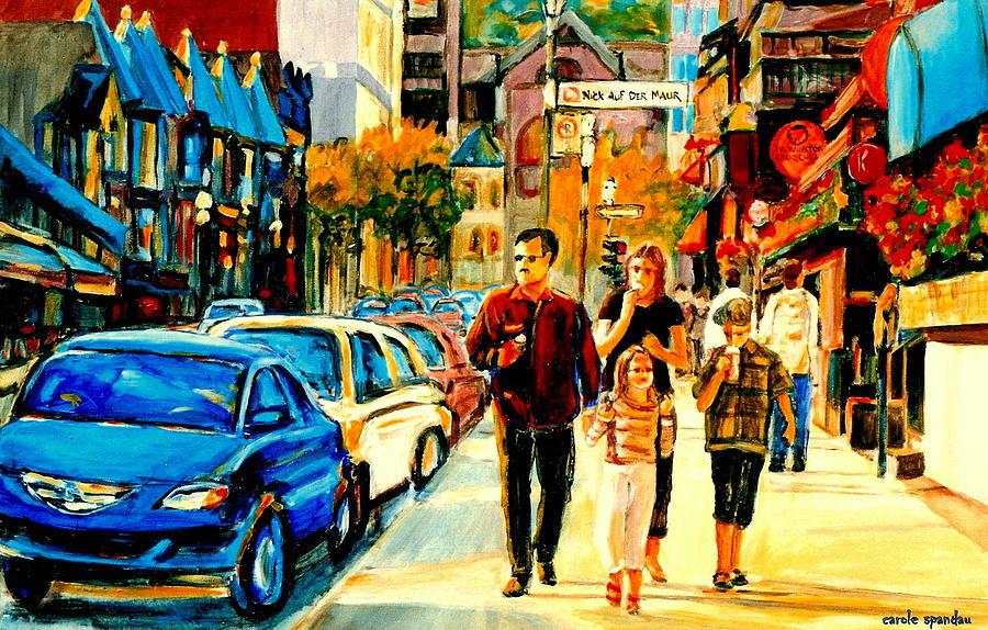 Quebec Painting - Thursdays Pub On Crescent Street Montreal City Scene by Carole Spandau