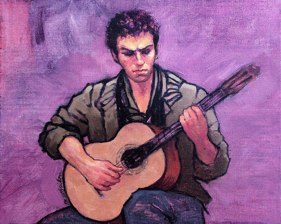 Tiago The Flamenco Guitarist Painting By Roz McQuillan