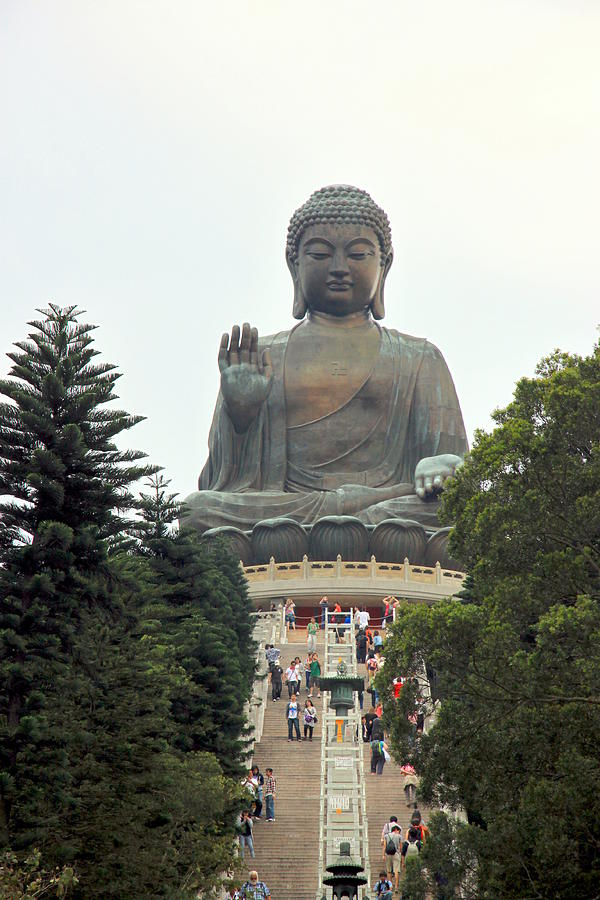 Religion Photograph - Tian Tan Buddha by Valentino Visentini