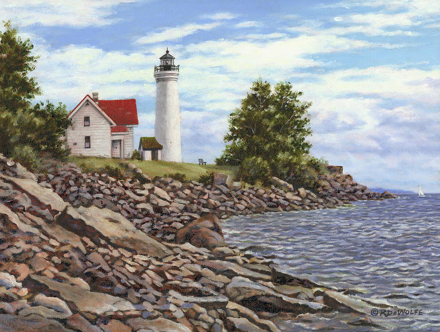 Thousand Islands Painting - Tibbetts Point Lighthouse by Richard De Wolfe