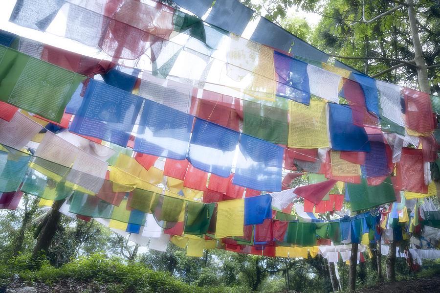 Horizontal Photograph - Tibetan Buddhist Prayer Flags by Glen Allison