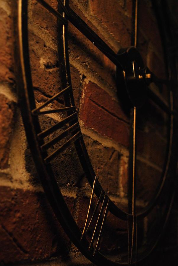 Clock Photograph - Ticking Brick by Halle Kirsch