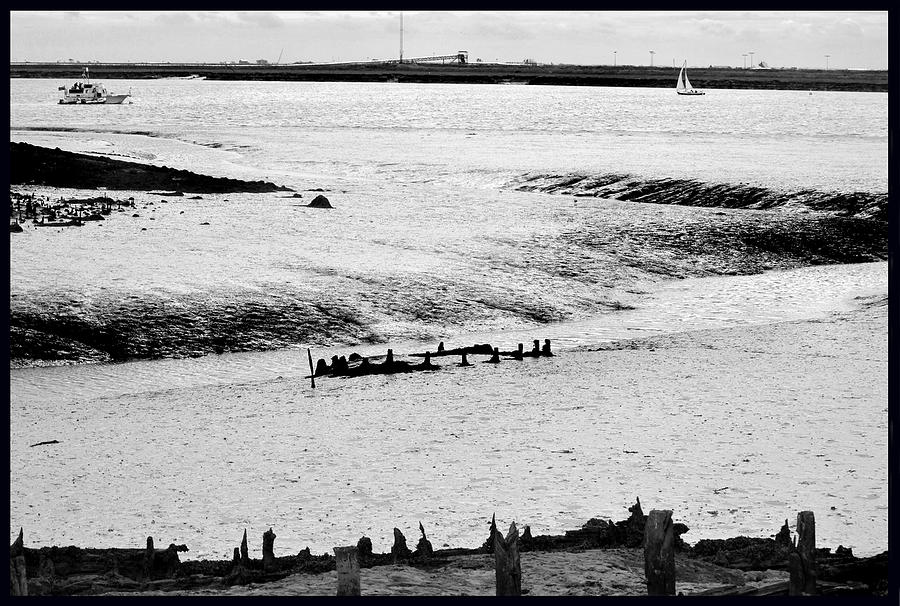 Monochrome Photograph - Tides On The Wane. by Terence Davis