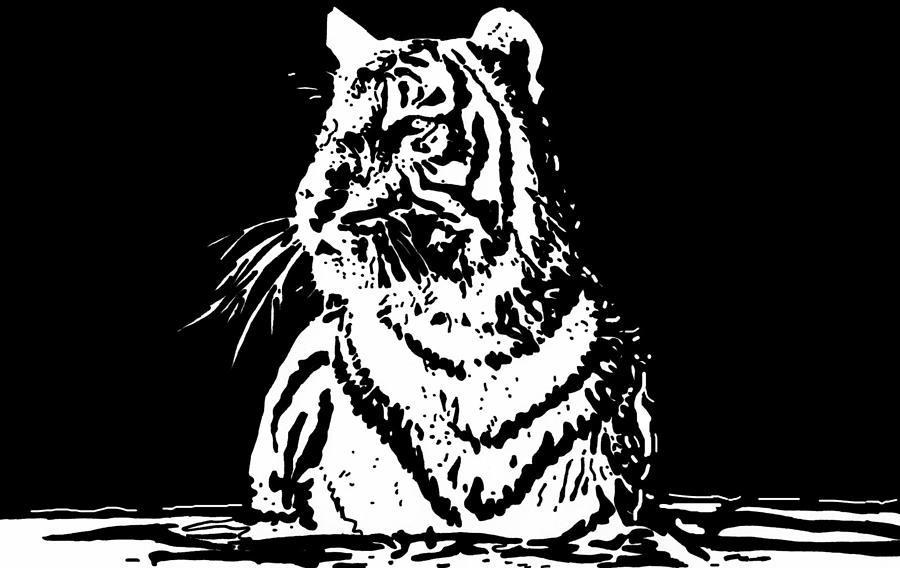 Tiger Drawing - Tiger 1 by Lori Jackson