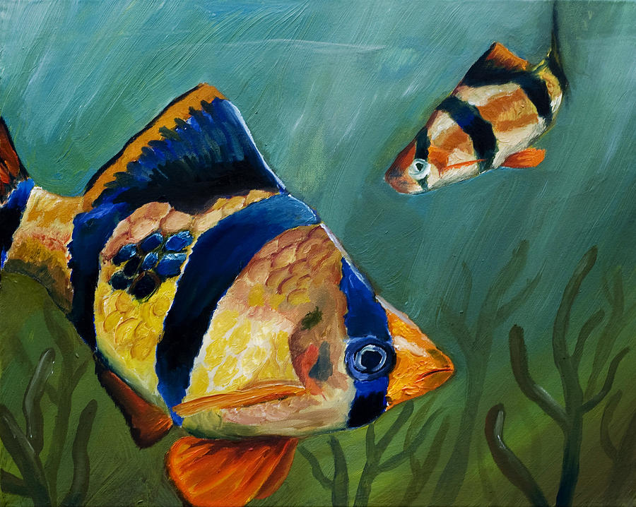 Tiger Barb Painting - Tiger Barbs by Anthony Cavins