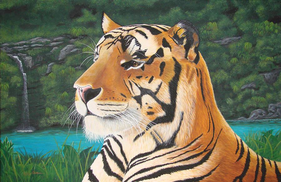 Tiger Painting - Tiger Falls by Jeffrey Oldham