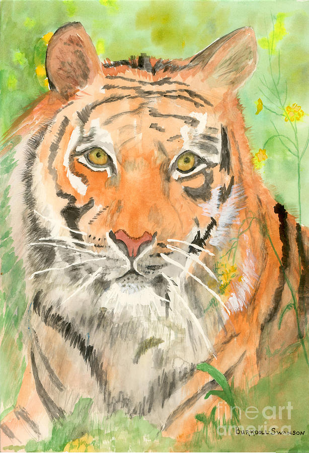Watercolor Painting - Tiger In The Meadow by Delores Swanson