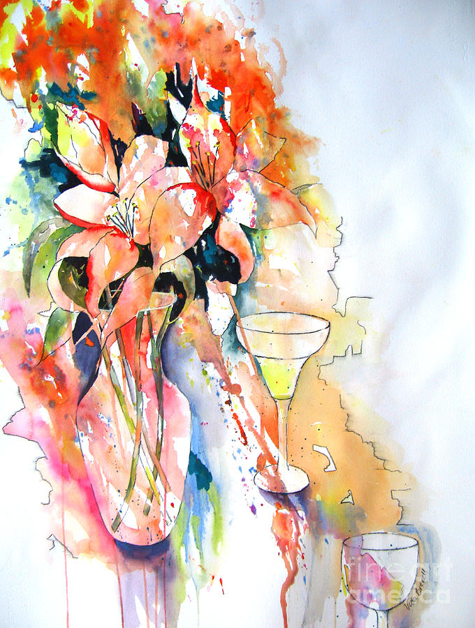 Floral Painting - Tiger Lilies by Vicki Brevell