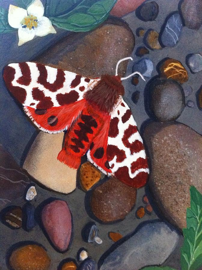 Insect Painting - Tiger Moth On River Rocks by Amy Reisland-Speer