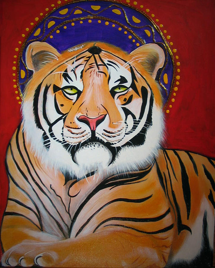 Tiger Art Painting - Tiger Saint by Christina Miller