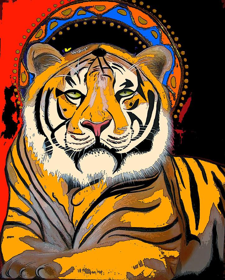 Tiger Art Painting - Tiger Saint Photoshop by Christina Miller