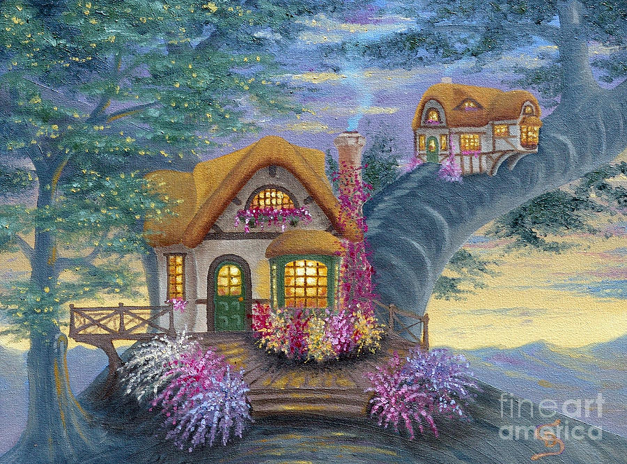 Quaint Painting - Tigs Cottage From Arboregal by Dumitru Sandru