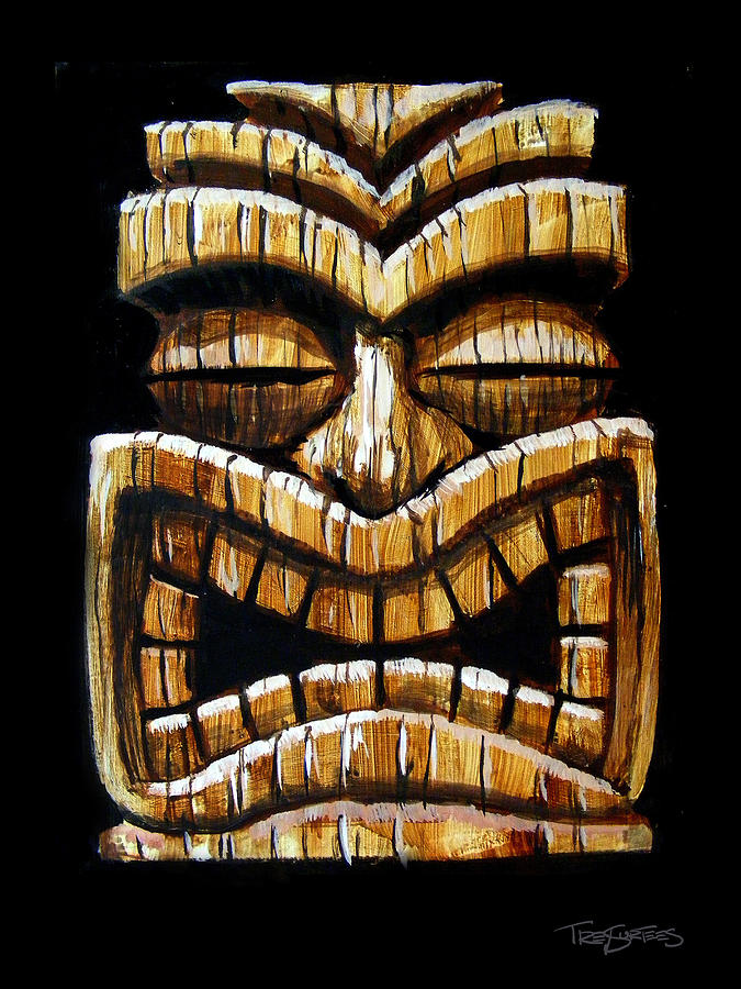 Wooden Tiki Head Drawing Tiki Head Painting by ...