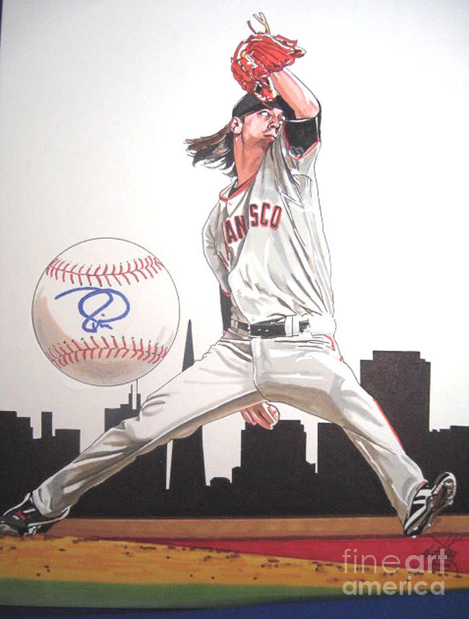 Baseball Drawing - Tim Lincicum by Neal Portnoy