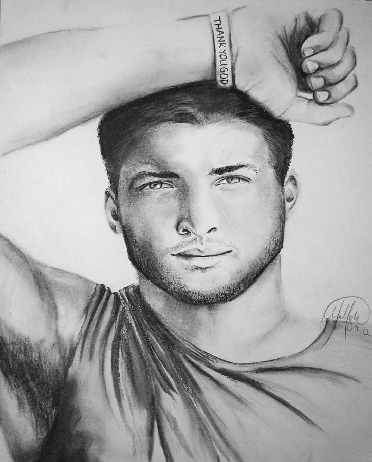 Tim Tebow Football Realistic Portrait Florida Gators Denver Broncos New York Jets Drawing - Tim Tebow by Madelyn Mershon