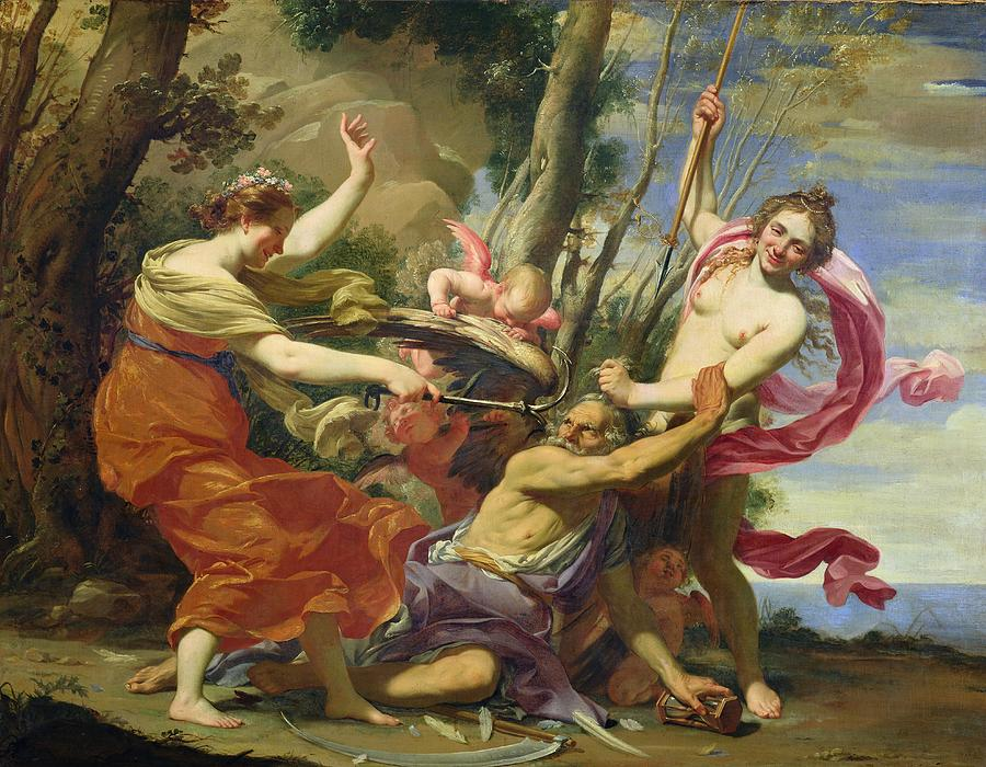 Myths Painting - Time Overcome By Youth And Beauty by Simon Vouet