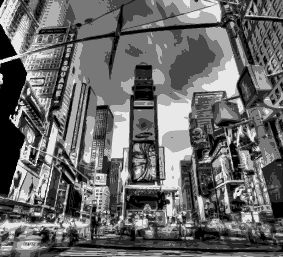 Time Square Photograph - Time Square Bw6 by Scott Kelley