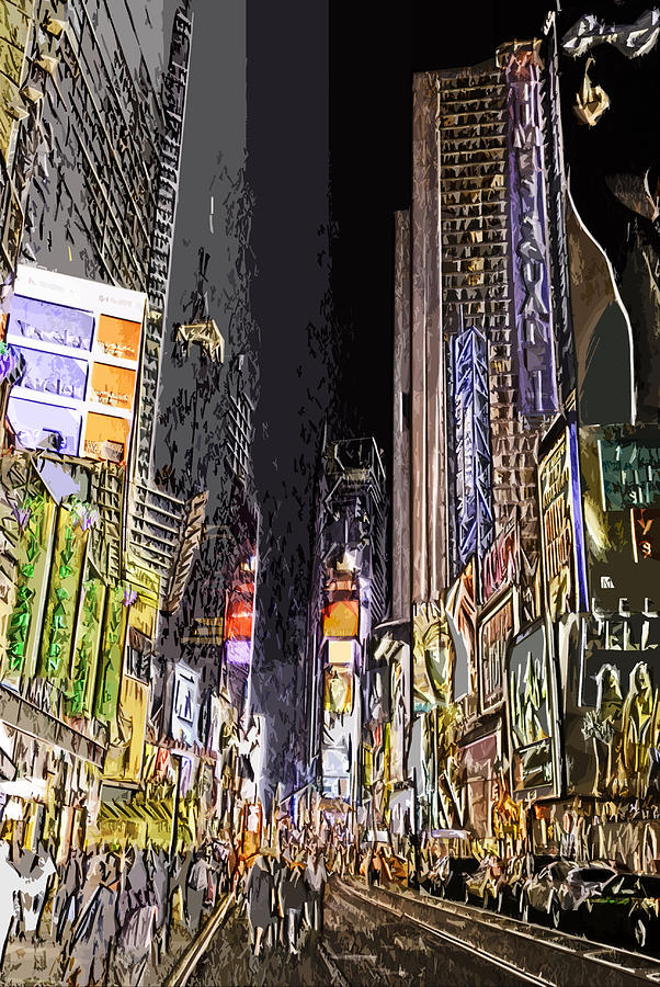 Nyc Photograph - Times Square Abstract by Robert Ponzoni