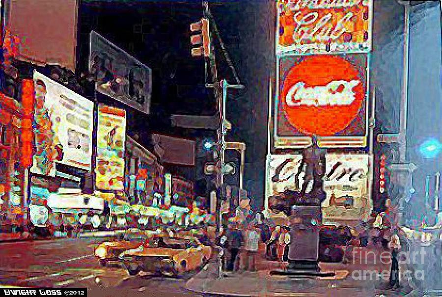 Times Square By Night In New York City 1960 Painting By